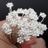 Wholesale Agate Pin - 200PCS Wedding Bridal Pearl Flower Hair pin Hair Clips Bridesmaid Hair Accessories Women Jewelry Wholesale