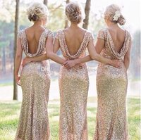 Wholesale Bridesmaid Short Sleeve Design - Classic Champagne Sequined Bridesmaid Dresses with Short Sleeve Sequins Backless Can Be Custom With Your Own Design