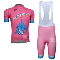 Wholesale Black Padded Sports Wear - New astana tour de france cycling jerseys set short sleeve shirt and gel pad bib  shorts suits Quickdry men Bicycle sports wear C1604