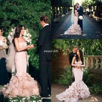 Wholesale romantic corset wedding dresses for sale - Blush Pink Corset Wedding Dresses Full Length Cascading Ruffles Bow Organza Bridal Dresses Romantic Custom Made Wedding Gowns