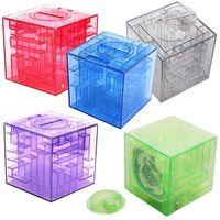 Wholesale Maze Piggy Bank - 3D Cube Crystal Puzzle Game Maze Piggy Bank Creative Children Toy Money Saving Box Toys For Children