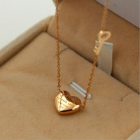 Wholesale Heart Shaped Key Necklace - Sale On Now Top Quality 316L Titanium steel fashion Heart with Key shape Pendant Necklaces Free Shipping PS4053