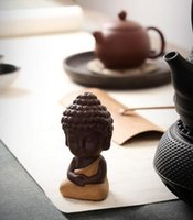Wholesale small figurines - New Arrival Small Buddha Statue Monk Figurine India Mandala Tea Ceramic Crafts Home Decorative Ornaments Miniatures