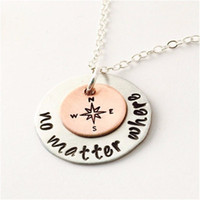 Wholesale Gold Filled Findings - Hot sale round handmade lettering neckalce Tiny No Matter Where Necklace Find Your True North and South Direction Compass Necklace