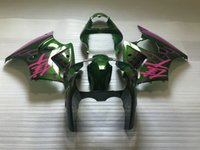 Wholesale Pink Kawasaki Fairing Kits - High quality Fairing kit for Kawasaki Ninja ZX6R 2000 2001 2002 pink green fairings set ZX6R 00 01 02 OT13