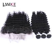 Wholesale Deep Weave Lace Closure - Ear to Ear Lace Frontal Closure With 3 Bundles Brazilian Deep Wave Curly Virgin Hair Peruvian Indian Malaysian Human Hair Weaves Closure