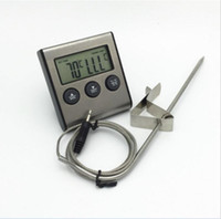 temporizador termómetro digital de carne al por mayor-Multi-función Pantalla LCD Digital Temporizador de Cocina Cocina BBQ Sonda Termómetro para Alimentos de Carne Dropshipping TK0217 Envío Gratis