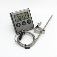 dijital et termometresi zamanlayıcı toptan satış-Çok fonksiyonlu Dijital LCD Ekran Zamanlayıcı Pişirme Mutfak BARBEKÜ Probe Et Gıda Termometre Dropshipping TK0217 Ücretsiz Kargo