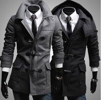 Wholesale Men S Slim Stylish Coat - Wholesale- Men's Trendy Slim Fit Toggle Duffle Coat With Hoodie Black Grey Coats Notched Collar Windproof Stylish Dust Coat for Men Warmful