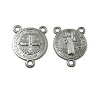 Wholesale Miniature Crosses - 100pcs of Miniature Triangle Saint Benedict Medal Rosary Centerpiece Center