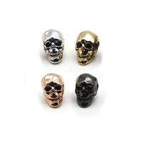 Wholesale Gold Plated Jewelry Making Supplies - Jewelry Accessories Gold Plated Brass Metal Micro Pave Cubic Zirconia Skull Skeleton Head Beads For Jewelry Making Supplies BS-1