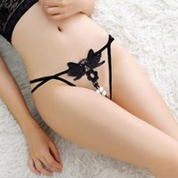Wholesale Hot Crotchless Panties - 2017 Hot Selling Crotchless Solid Color Low-Rise Sexy Female G-String Fashion Transparent Lace Hollow Out Women Panties