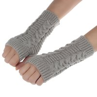 Wholesale Pair Fashion Womens Winter Arm Fingerless Screen Gloves Outdoor Sports Warm Gloves Mittens Kniteed Mittens