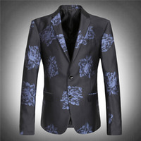 Wholesale Extra Flowers - Wholesale- 2017 men's wedding blazer high quality obese flower extra large super big suit jacket autumn plus size M -4XL 5XL 6XL 7XL 8XL