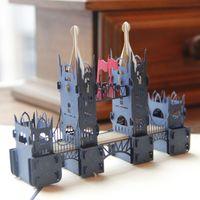 Wholesale Paper Cutouts - (10 pieces lot)3D Handmade Pop Up Paper Greeting Card Cutout Sculptures London Tower Bridge Business Gift Cards Souvenir Crafts