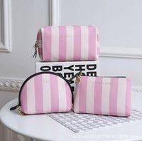 Wholesale Train Pillow Case - Top quality New Victoria Classic Love VS Pink Cosmetic makeup train case Bag Zipper Handbag Portable Storage Bag 3 styles Hot Sale