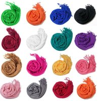 Wholesale Wholesale Solid Cotton Scarves - 2017 NEW FASHION Pashmina Cashmere Solid Shawl Wrap Women's Girls Ladies Scarf Soft Fringes Solid Scarf