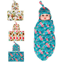 Wholesale Baby Cloths Free Shipping - Newborn Baby Swaddling Blankets Headbands Floral Hat Set Baby Swaddle Wrap Blanket 90*90cm Baby Cotton wrap cloth Hairbands Free Ship BHB03