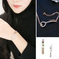 Wholesale Silver Pendant Bracelets - Fashion Crystal bracelet LOVE Key pendant Lady bracelet elegant silver gold classic bracelet Jewelry for women gift