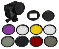 Wholesale 52mm Fld - 10 in 1 Gopro Filters 8 color w Adapter Cap 52mm UV FLD Filter for Gopro Hero5