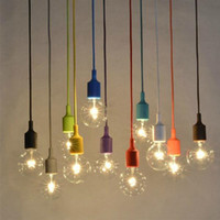 Wholesale Light Bulb Cord Socket - Muuto Pendant Light E27 Socket Lamps DIY Pendant Lamp Bar Light Restaurant Light Silicone Rubber Ceiling Pendant Lamp Bulbs Included