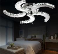 modern dekoratif ışıklar toptan satış-Yeni modern cilası için Led kristal tavan fan ışıkları oturma odası yatak odası çalışma odası ev dekoratif aydınlatma lambaları LLFA