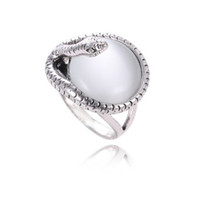 Venda Por Atacado 925 Silver Simple Opal ladies Retro anel de anel punk Fit Pandora Cubic Anniversary Jewelry for Women Gift de Natal