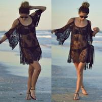 Wholesale Crochet Beach Wear - 2017 Fashion Sexy Women Beach Dress Sexy Strap Sheer Floral Lace Embroidered Crochet Summer Dresses Hippie Dress Beach Wear