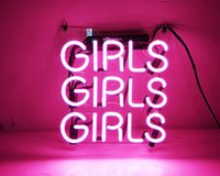 """Wholesale Handcraft Homes - Fashion New Handcraft Neon sign """" Pink Girls """" Real Glass Tubes For Bedroom Home Display neon Lighht sign 10x10!!!"""