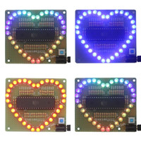 Wholesale Shaped Colorful Lights - Wholesale- New DIY Kit Heart-shaped LED Red Blue Colorful Light Water Electronic Flashing Set Eletronic Brand New