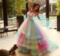 Wholesale Short Prom Rainbow Dress - 2017 Colorful Rainbow Prom Dresses A Line Sweetheart Floor Length Long Prom Gowns Sleeveless Tulle Vestidos De Fiesta Custom Made