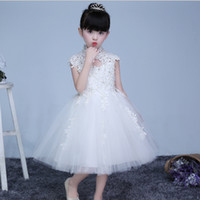 Wholesale tea clothes for sale - Fashion Flower Girls Dress Rhinestone tulle Lace Wedding Pageant Summer Princess Party Dresses Clothes flower girl s prom dress