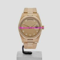 Wholesale Pin Marker - Free shipping luxury Mens mechanical watches Wrist watch Christmas gift Champagne Diamond Markers 18K YELLOW GOLD WATCH 18238 36MM