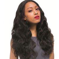 cheveux birmans achat en gros de-Burmese Body Wave Pleine perruques de lacet avec la perruque de cheveux humains avant sans dentelle et sans colle naturelle