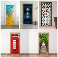 Wholesale country wooden - 3D Wall Stickers Imitate Mural Painting Living Room Bedroom Wooden Door Sticker Paste Wood Drawbridge Decoration Refurbished Waterproof 45fu