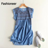 Wholesale Vintage Denim Dresses For Women - Fashioneer Denim Dress For Woman Embroidery Floral Slash Neck Pleated Off Shoulder Long Summer Dresses For Women Lady S-L Size Apai17-23