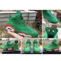 Wholesale Green Pines - 2017 New Air Retro 6 Gatorade Green Suede Men Basketball Shoes NRG G8RD Pine Green Orange Blaze Pine Green Outdoor Trainner Sneakers