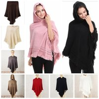 Gestrickte Schalmantel Frauen Kaufen -Tassel Schal Poncho Fashion Fringe Wraps Frauen Strick Schals Winter Cape Solid Shawl Loose Cardigan Umhang Decken Mantel Sweate 50 PCS YYA500