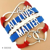 (10 Pieces / Lot) Infinity Love All Lives Matter Multilayer Leather Wrap Bracelets Heart Charms Blue Red White Cuff Wrist Band
