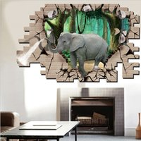 Wholesale modern elephant wall art - 3D Elephant Animal Wall Stickers For Kids Room Bedroom Living Room Decoration Fake Window Wallpapers DIY Home Decor Mural