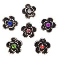 B070 50pcs al por mayor baratos Noosa flor Metal Chunks 12MM Mini Jengibre Snap Button joyas para Noosa DIY Pulseras