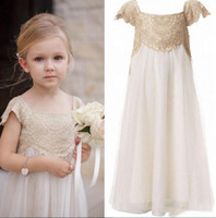 Wholesale Girls Empire Pink Dress - Vintage Flower Girls Dresses for Bohemia Weddings Cheap Floor Length Cap Sleeve Empire Champagne Lace Ivory Tulle First Communion Dresses