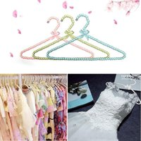 Wholesale new cm Colorful White Pearl Hanger for Dresses Beads Adult Hanger Wardrobe Clothes Seamless Laundry Hanger