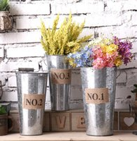 Wholesale green tin buckets - Retro Metal Planter Flowerpot Vintage Rustic Nostalgia Iron Buckets Garden Pots Tin Planters Bucket Storage Container KKA1587