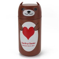 Wholesale Disposable Water Bottles - Wholesale- Cartoon Bear Vacuum Insulated Thermos Cup Coffee Mugs Stainless Steel Thermal Water Bottle Flask Thermocup Drinkware 220ml