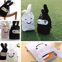 Wholesale Ninja Pouch Bag - White Black Easter Bunny Ears Bag Gift Bag Candy Travel Lunch Ninja Rabbit Pouch Laundry Drawstring Storage Bag Hot Sale IC603