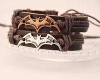 Wholesale Batman Charms - Hot Sale Hollywood Film Movie Batman Leather Bracelet Fashion Metal Clasp Bracelet Wristband Jewelry Holiday Gift Free Shipping