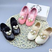 Wholesale Girls Pearl Dress Shoes - Kids shoes girls T-strap pompon pearl single shoes 2017 autumn new kids princess dress shoe fashion children's day party shoes T4770