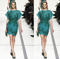 Wholesale Elie Saab Evening Dress Knee - 2017 Elie Saab Evening Dresses Sheath Sheer Neck Beads Sequins Green Color Prom Party Gowns Personalized Cheap Party Drees