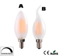 Wholesale E14 Led Dimmable Frosted - x30 Dimmable C35 C35T 4W 6W Retro LED Filament Bulb Frosted Candle Bulbs,E12 E14 Base, 110v 220v Warm White,Chandelier Decorative Lighting
